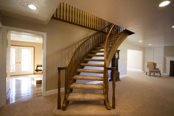 Living Room with Stairs going up